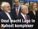 Irans Außenminister Javad Zarif, IAEO-Generaldirektor Yukiya Amano und EU-Außenbeauftragte Federica Mogherini