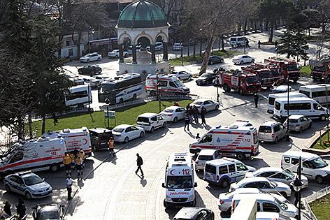 Rettungsautos am Anschlagsort