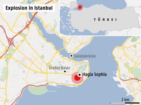 Karte zeigt Explosionsort in Istanbul