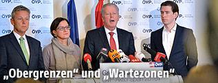 ÖVP-Klubobmann Reinhold Lopatka, Innenministerin Johanna Mikl-Leitner, Vizekanzler Reinhold Mitterlehner und Außenminister Sebastian Kurz