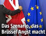 Eine Hand greift auf eine Union-Jack-Flagge, die neben einer Flagge der Europäischen Union hängt