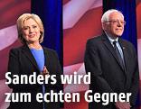 US-Präsidentschaftskandidaten Hillary Clinton und Bernie Sanders