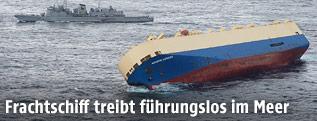 Gekenterstes Frachtschiff