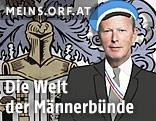 Montage des Gesichtes von ÖVP-Chef Reinhold Mitterlehhner und einer gezeichneten Männerfigur in Anzug vor Wappen