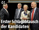 Die Präsidentschaftskandidaten Rudolf Hundstorfer, Alexander Van der Bellen, Irmgard Griss und Andreas Khol