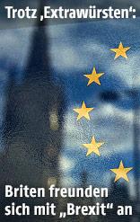 Elizabeth Tower in London spiegelt sich in Flagge der EU