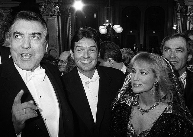 Der frühere Wiener Bürgermeister Helmut Zilk, Falco und Dagmar Koller (1986)