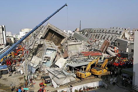 Zerstörte Gebäude in Tainan