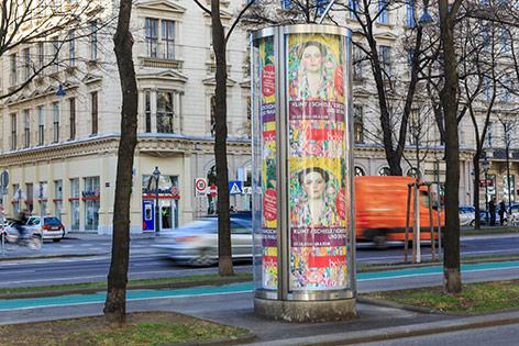 Neuere Litfaßsäule in Wien
