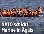 Zahlreiche Menschen mit Schwimmwesten auf einem überfüllten Schlauchboot