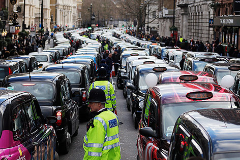 Taxi-Protest in London gegen Uber