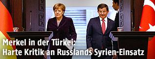 Die deutsche Bundeskanzlerin Angela Merkel und der türkische Ministerpräsident Ahmet Davutoglu