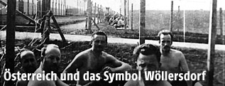Historische Aufnahme von Gefangene im Lager Wöllersdorf im Jahr 1934