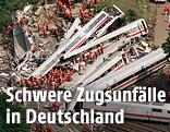 Wrack des verunglückten ICE 884 bei Eschede in der Nähe von Celle