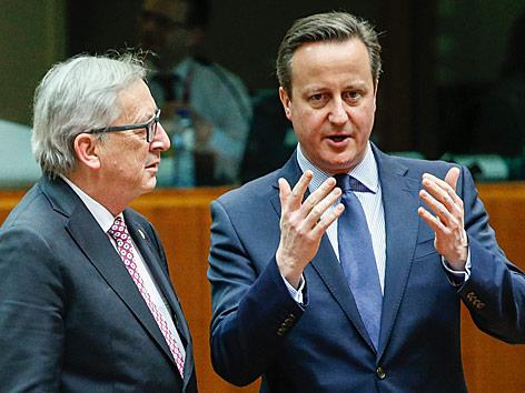 EU-Kommisionspräsident Jean-Claude Juncker mit dem britischen Premier David Cameron