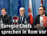 Tirols Landeshauptmann Günther Platter, Ugo Rossi (Trentino) und der Südtiroler Landeshauptmann Arno Kompatscher