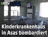 Ein von Bomben getroffenes Krankenzimmer
