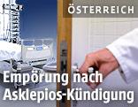 Arzt öffnet ein Zimmer in einem Krankenhaus