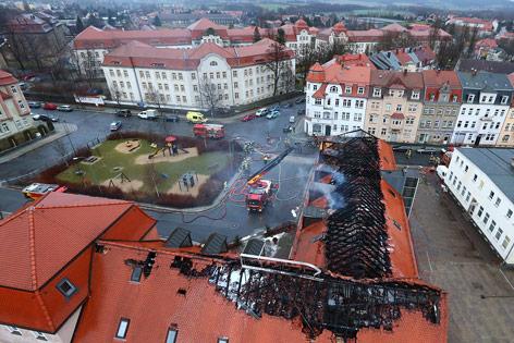 Ausgebrannte Flüchtlingsunterkunft in Sachsen