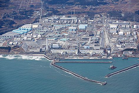 Luftaufnahme zeigt das Kernkraftwerk Fukushima