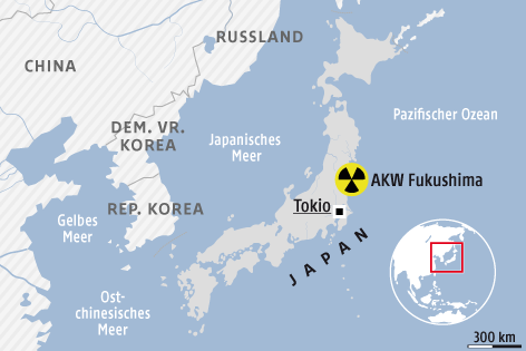Karte von Japan zeigt den Standort des AKW Fukushima