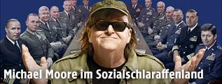 Rückansicht von US-Filmemacher Michael Moore mit US-Flagge