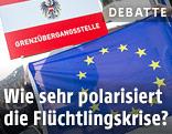 EU-Fahne an österreichischem Grenzübergang