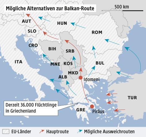 Eine Grafik zeigt alternative Flüchtlingsrouten zur Balkanroute