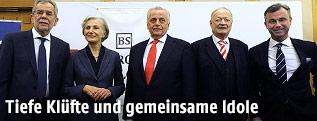 Alexander van der Bellen, Irmgard Griss, Rudolf Hundstorfer, Andreas Khol und Norbert Hofer