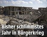 Zerstörte Gebäude am Rand von Damaskus