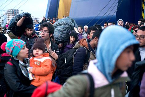 Flüchtlinge am Hafen von Piräus