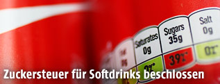 Softdrinkdose mit Zucker-Angabe