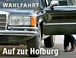 Hanno Settele blickt aus dem Mercedes