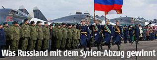 Russische Soldaten vor russischen Kampfjets