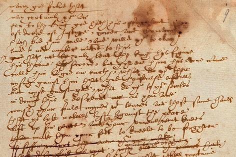 """Handschriftliches Manuskript von William Shakespeares Stück """"Sir Thomas More"""""""