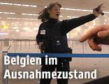 Polizistin am Flughafen von Brüssel