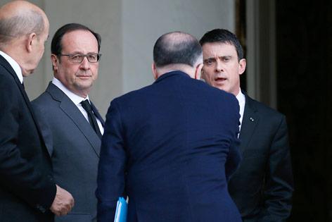 Jean-Yves Le Drian, Francois Hollande und Manuel Valls
