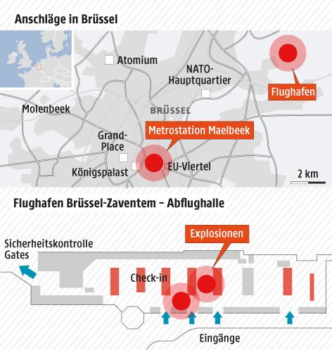 Eine Grafik zeigt die Orte der Terroranschläge in Brüssel