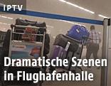 Gepäckstücke in der Flughafenhalle in Brüssel