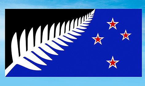 Neue Flagge Neuseelands mit einem Silberfarn und Sternen