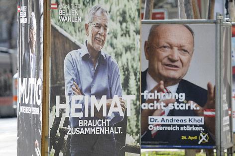Präsidentschaftskandidaten Alexander Van der Bellen (Grüne) und Andreas Khol (ÖVP)