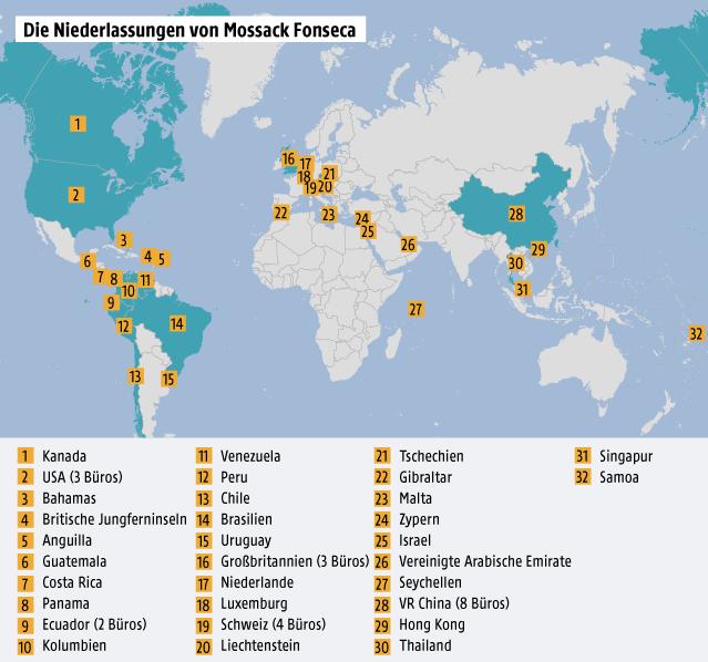 Grafik zeigt die Niederlassungen von Mossack Fonseca