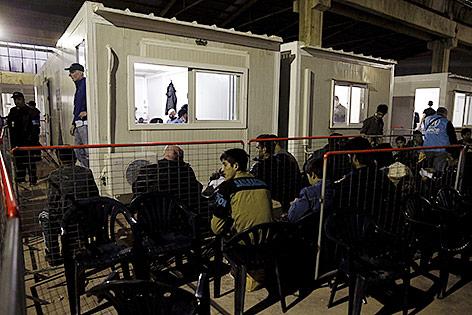 Flüchtlings-Registrierungszentrum auf der Insel Chios
