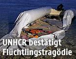 Beschädigtes Schlauchboot an der Küste
