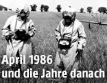Spezialeinheiten auf einem Feld bei Tschernobyl