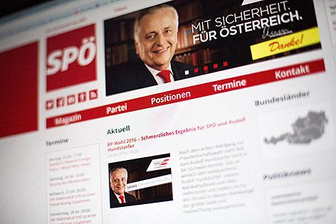 Bild zeigt Internetauftritt der SPÖ