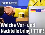 US-Präsident Barack Obama und die deutsche Bundeskanzlerin Angela Merkel reichen sich die Hand