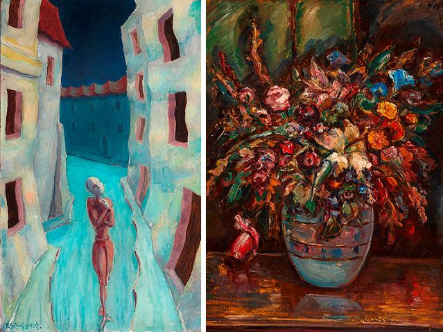 Links: Ölgemälde von Franz Schaffgotsch - Traumwandler, rechts Ölgemälde von Elfriede Mayer - Blumen in Vase