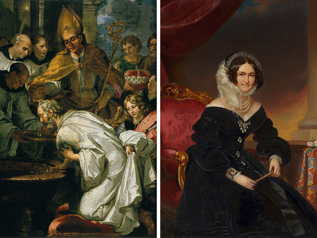 Links: Ölgemälde der Taufe des Bayernherzogs Theodo durch den Hl. Rupert Frans de Neve, rechts: Ölgemälde von Johann Rauzi nach Franz Schrotzberg - Porträt der Kaiserin-Witwe Caroline Auguste;