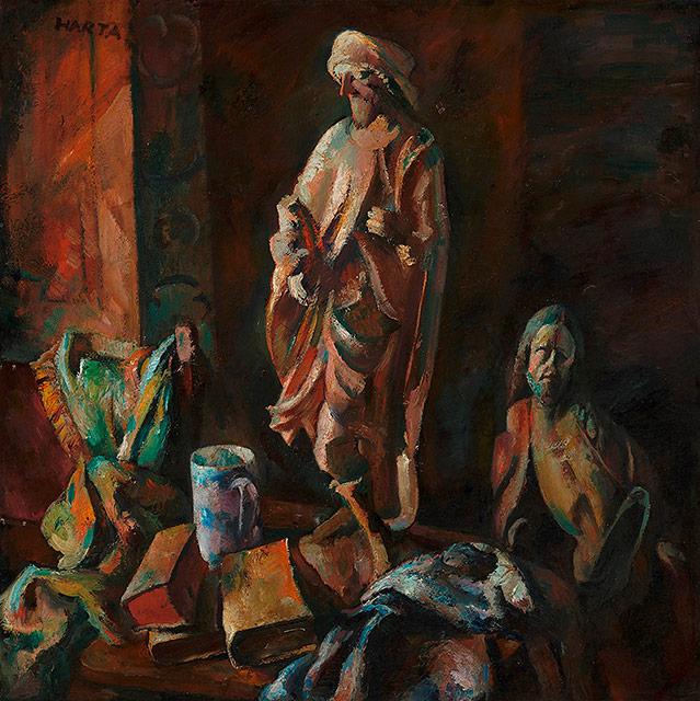 Gemälde von Felix A. Harta - Stillleben mit gotischen Figuren